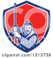 Clipart Of A Retro Woodcut Samurai Warrior Holding A Katana In A Blue White And Red Shield Royalty Free Vector Illustration by patrimonio