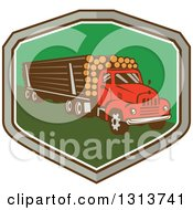 Clipart Of A Retro Red Logging Truck Hauling Logs In A Gray Brown White And Green Shield Royalty Free Vector Illustration by patrimonio