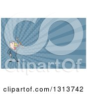 Clipart Of A Cartoon Turkey Bird Worker Mechanic Man Holding Up A Wrench And Blue Rays Background Or Business Card Design Royalty Free Illustration by patrimonio