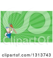 Clipart Of A Cartoon Turkey Bird Plumber Worker Man Holding Up A Monkey Wrench And Green Rays Background Or Business Card Design Royalty Free Illustration by patrimonio