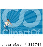 Clipart Of A Cartoon Turkey Bird Plumber Worker Man Holding Up A Monkey Wrench And Blue Rays Background Or Business Card Design Royalty Free Illustration by patrimonio