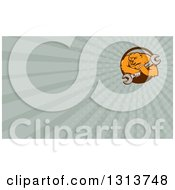 Clipart Of A Cartoon Grizzly Bear Mechanic Mascot Carrying A Giant Wrench And Pastel Green Rays Background Or Business Card Design Royalty Free Illustration