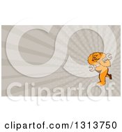 Clipart Of A Cartoon Grizzly Bear Mechanic Mascot Carrying A Giant Wrench And Taupe Rays Background Or Business Card Design Royalty Free Illustration