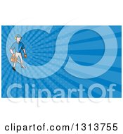 Clipart Of A Cartoon White Male Gardener Using A Leaf Blower And Blue Rays Background Or Business Card Design Royalty Free Illustration