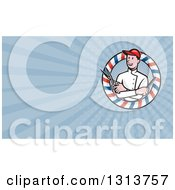 Clipart Of A Cartoon Male Barber With Scissors And A Comb In A Circle And Blue Rays Background Or Business Card Design Royalty Free Illustration by patrimonio