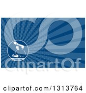 Clipart Of A Retro Man Playing Table Tennis And Blue Rays Background Or Business Card Design Royalty Free Illustration