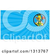 Clipart Of A Cartoon Duck Plumber Worker Holding A Plunger And Blue Rays Background Or Business Card Design Royalty Free Illustration by patrimonio