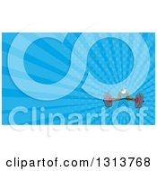 Clipart Of A Cartoon Muscular Bald Eagle Bodybuilder Man Lifting A Heavy Barbell And Blue Rays Background Or Business Card Design Royalty Free Illustration