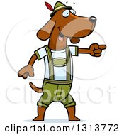 Clipart Of A Cartoon Skinny German Oktoberfest Dachshund Dog Wearing Lederhosen And Pointing To The Right Royalty Free Vector Illustration by Cory Thoman