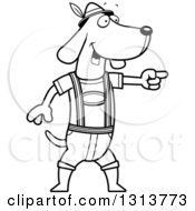 Cartoon Black And White Skinny German Oktoberfest Dachshund Dog Wearing Lederhosen And Pointing To The Right