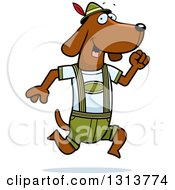Cartoon Skinny German Oktoberfest Dachshund Dog Wearing Lederhosen And Running To The Right