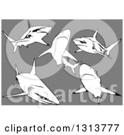 Clipart Of Black Tip Sharks Swimming On Gray Royalty Free Vector Illustration