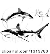 Clipart Of Black And White Swimming Caribbean Sharks Royalty Free Vector Illustration
