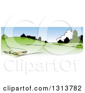 Clipart Of A Green Spring Time Hilly Landscape With Silhouetted Buildings And Blue Sky Royalty Free Vector Illustration by dero