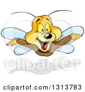 Clipart Of A Cartoon Excited Butterfly In Flight Royalty Free Vector Illustration