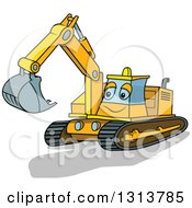 Clipart Of A Cartoon Excavator Machine Character Royalty Free Vector Illustration by dero
