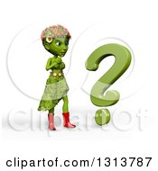 3d Green Nature Woman Wearing Leaves And Flowers Thinking By A Question Mark