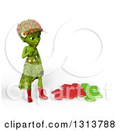 Poster, Art Print Of 3d Green Nature Woman Wearing Leaves And Flowers Thinking By Puzzle Pieces