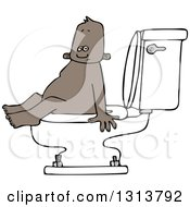 Cartoon Black Baby Boy Sitting On A Toilet