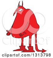 Clipart Of A Cartoon Fat Red Satan Presenting Royalty Free Vector Illustration by Dennis Cox