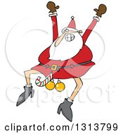 Clipart Of A Cartoon Christmas Santa Claus Jumping With A Candy Cane And Ornaments Between His Legs Royalty Free Vector Illustration by Dennis Cox