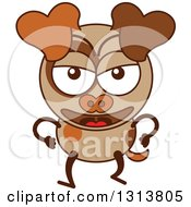 Clipart Of A Cartoon Angry Brown Dog Character Royalty Free Vector Illustration