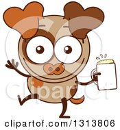 Clipart Of A Cartoon Brown Dog Character Waving And Holding A Beer Royalty Free Vector Illustration