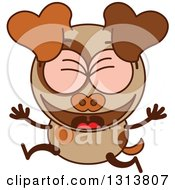 Clipart Of A Cartoon Brown Dog Character Celebrating Royalty Free Vector Illustration