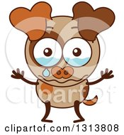 Clipart Of A Cartoon Brown Dog Character Crying Royalty Free Vector Illustration