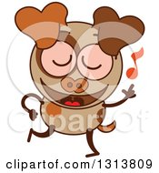 Clipart Of A Cartoon Brown Dog Character Dancing To Music Royalty Free Vector Illustration