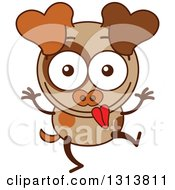 Clipart Of A Cartoon Brown Dog Character Making A Funny Face Royalty Free Vector Illustration