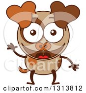 Clipart Of A Cartoon Brown Dog Character Waving Royalty Free Vector Illustration by Zooco