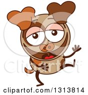 Clipart Of A Cartoon Brown Dog Character Laughing Royalty Free Vector Illustration