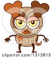 Clipart Of A Cartoon Naughty Brown Dog Character Royalty Free Vector Illustration