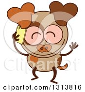 Clipart Of A Cartoon Brown Dog Character Talking On A Smart Phone Royalty Free Vector Illustration