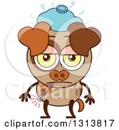 Clipart Of A Cartoon Sick Brown Dog Character With A Thermometer And Ice Pack Royalty Free Vector Illustration