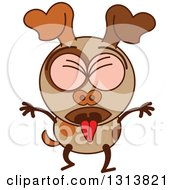 Clipart Of A Cartoon Sick Vomiting Brown Dog Character Royalty Free Vector Illustration