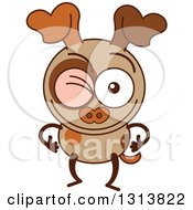 Clipart Of A Cartoon Brown Dog Character Winking Royalty Free Vector Illustration