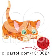 Clipart Of A Cute Tabby Ginger Kitten About To Pounce On A Ball Of Yarn Royalty Free Vector Illustration
