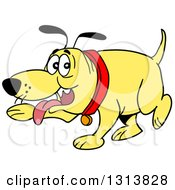 Clipart Of A Cartoon Yellow Dog Panting And Pointing With A Paw Royalty Free Vector Illustration by LaffToon
