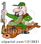 Clipart Of A Cartoon Caucasian Male Hunter Sitting On A Bear With A A Boot On The Neck Royalty Free Vector Illustration