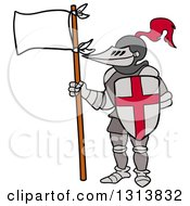 Clipart Of A Cartoon Knight Wearing Armour Holding A Shield And Flag Royalty Free Vector Illustration