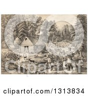 Clipart Of A Historical Lithograph Scene Of Pioneer Hunters And Dogs Approaching A Western Frontier Home And Family By A Stream Royalty Free Illustration