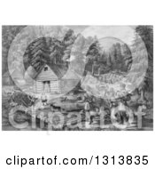 Clipart Of A Historical Grayscale Lithograph Scene Of Pioneer Hunters And Dogs Approaching A Western Frontier Home And Family By A Stream Royalty Free Illustration