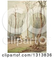 Clipart Of A Frontier Family Clearing Land And Burning By Their Cabins Royalty Free Illustration