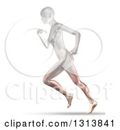 Clipart Of A 3d Anatomical Woman Running With Visible Leg Muscles On White Royalty Free Illustration