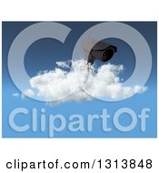 Clipart Of A 3d CCTV Surveillance Security Camera On A Cloud Against Blue Sky Royalty Free Illustration