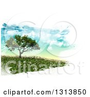 Poster, Art Print Of 3d Tree On A Hill With Spring Time Daisies Bordered In White Brush Paint Strokes
