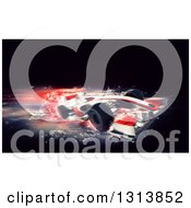 Clipart Of A 3d F1 Red Race Car With Speed Blur Effect On Black Royalty Free Illustration by KJ Pargeter