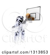 Clipart Of A 3d Robot Basketball Player Making A Slam Dunk With Shard Effect On White Royalty Free Illustration